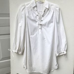 ANNE FONTAINE Poet white Blouse 40 8 lace up top